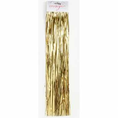 Set van 6x stuks gouden kerstboom versiering lametta haar 50 cm