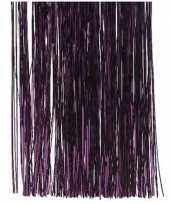 3x aubergine paarse kerstboom versiering lametta slierten